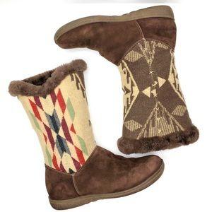 Pendleton Wool Fur Aztec Printed Boots